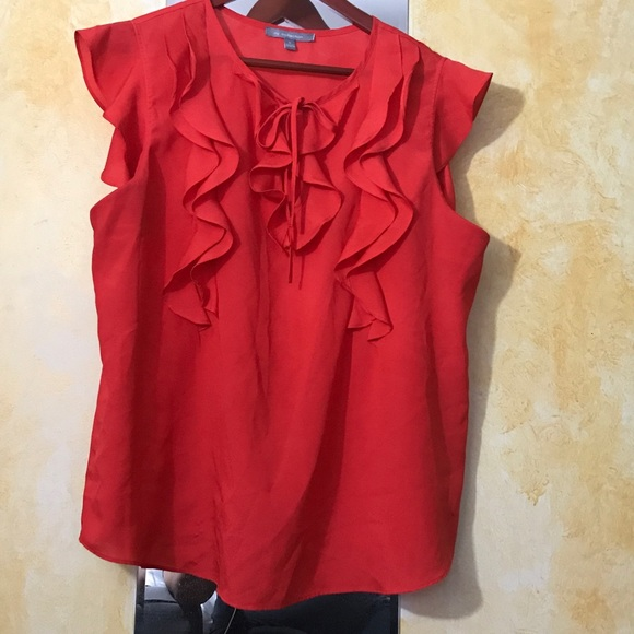 NY Collection Tops - Pretty ruffle sleeveless top in red. Size XL.